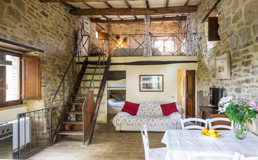 The Umbrian Country Cottages Family Room with The Little Voyager