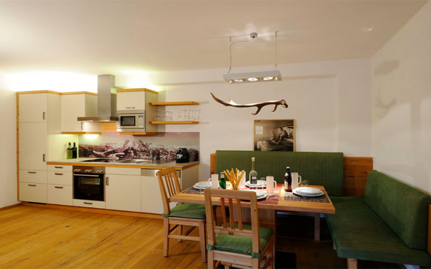 Austrian Alpine Apartments Dining Area with The Little Voyager