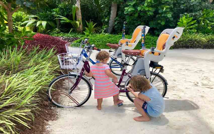Kids Biking in Kandima with The Little Voyager