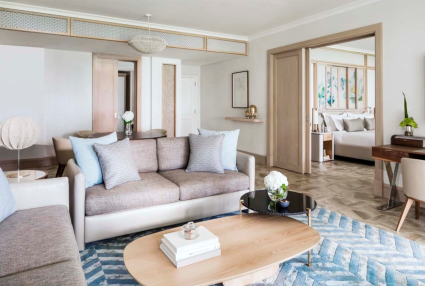 Sitting room of suite in hotel