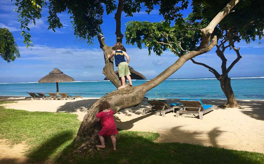 St Regis Resort in Mauritius Beach Line with The Little Voyager