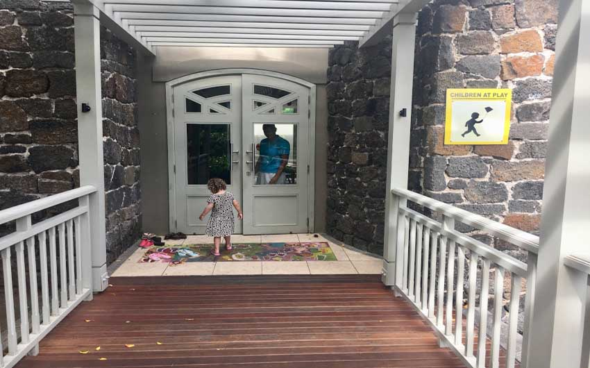 St Regis Resort in Mauritius Entrance with The Little Voyager