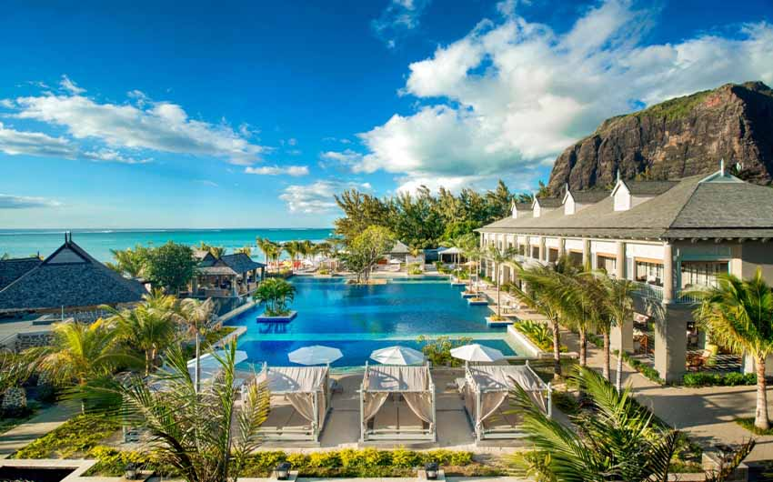 St Regis Resort in Mauritius Manor Swimming Pool with The Little Voyager