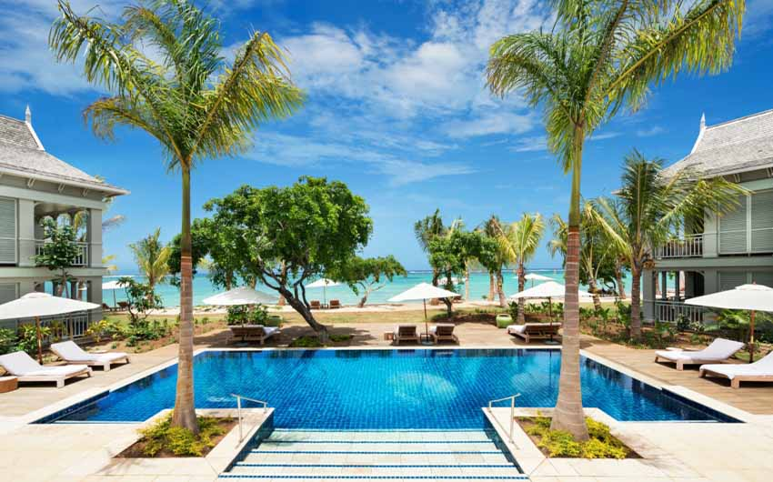 St Regis Resort in Mauritius Swimming Pool with The Little Voyager