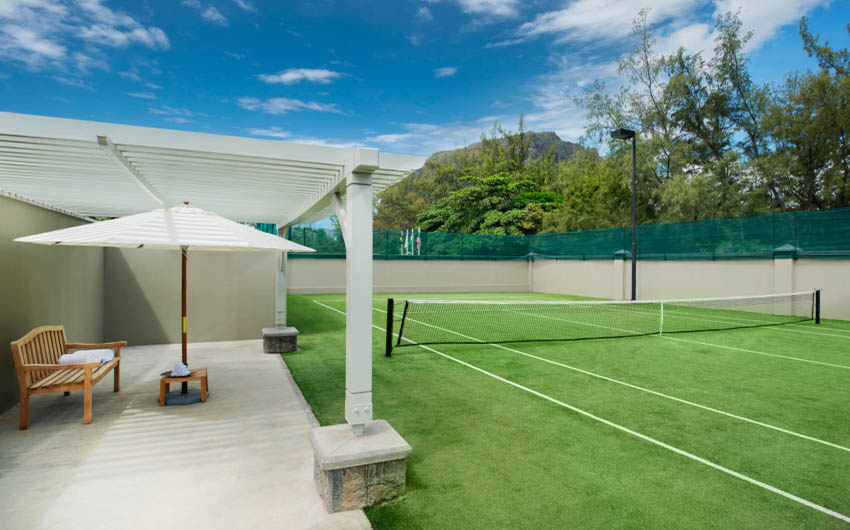 St Regis Resort in Mauritius Tennis Courts with The Little Voyager