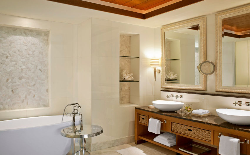 St. Regis Saadiyat Resort's Ocean Suite Bathroom with The Little Voyager