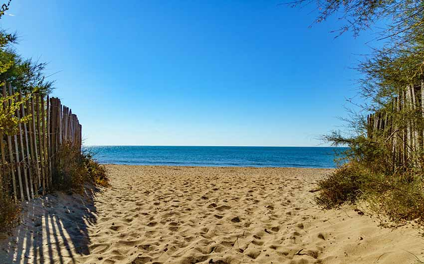 French Wine Estate Serignan Beach with The Little Voyager