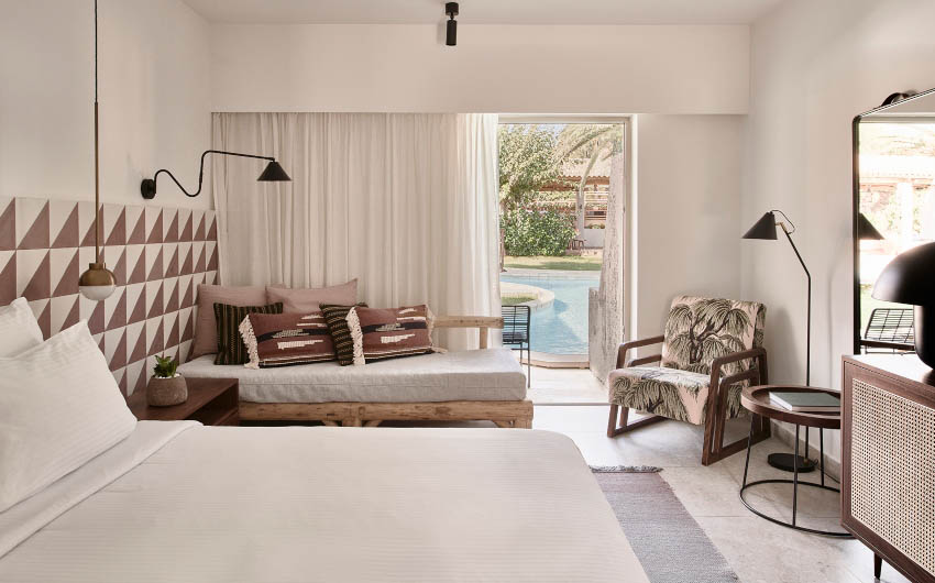 Cretan Nature Resort Front Pool Bedroom with The Little Voyager