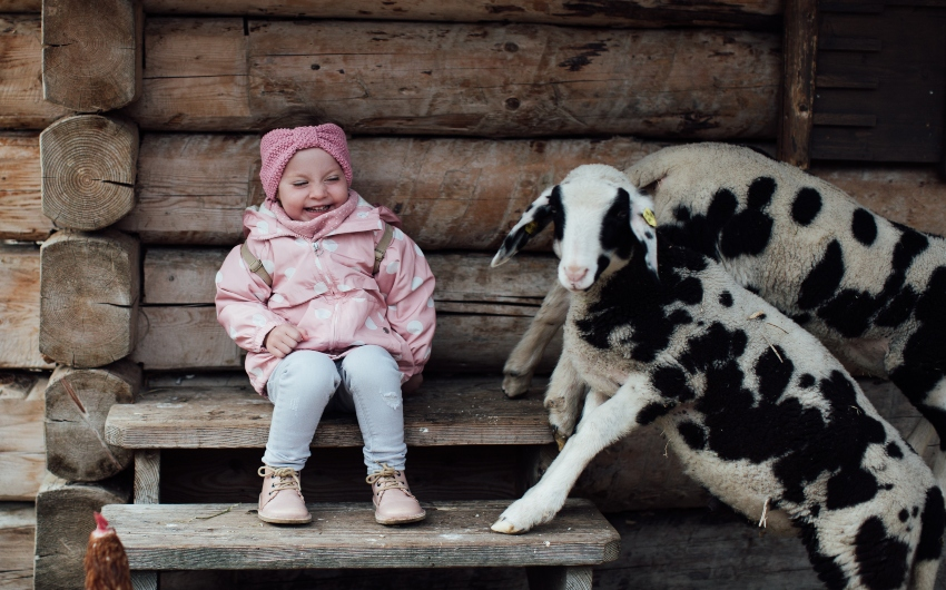 Kid with sheep at the Austrian Nature Retreat